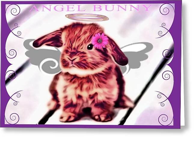 Pet Greeting Cards - Angel Bunny Greeting Card by Tisha McGee