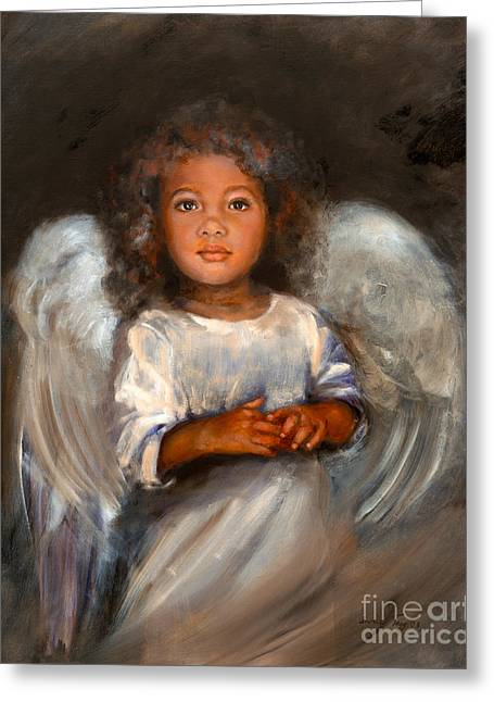 African Angel Greeting Cards - Angel Comfort Greeting Card by Angel Cottage