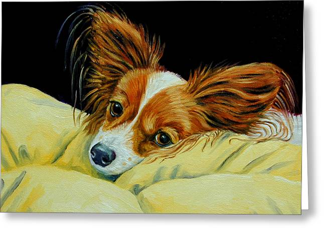 Papillon Dog Greeting Cards - Angel Face - Papillon Greeting Card by Lyn Cook