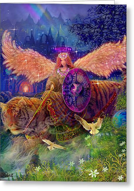 Tiger Illustration Greeting Cards - Angel tarot card Angel Fairy Dream Greeting Card by Steve Roberts