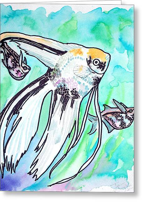 Jenn Cunningham Greeting Cards - Angel Fish And Hatchet Tetras Greeting Card by Jenn Cunningham