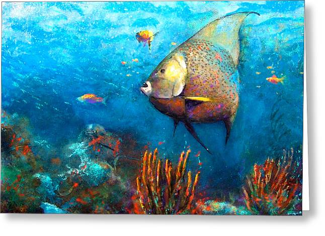 Angel Blues Greeting Cards - Angel Fish Greeting Card by Andrew King