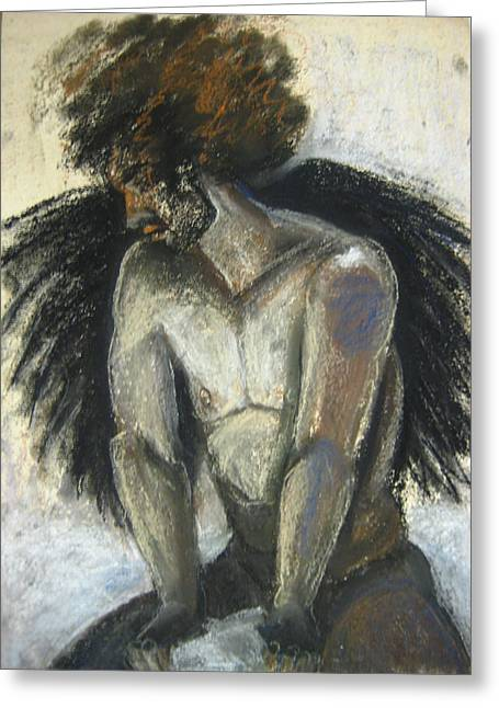 Man Looking Down Drawings Greeting Cards - Angel Greeting Card by Gabrielle Wilson-Sealy