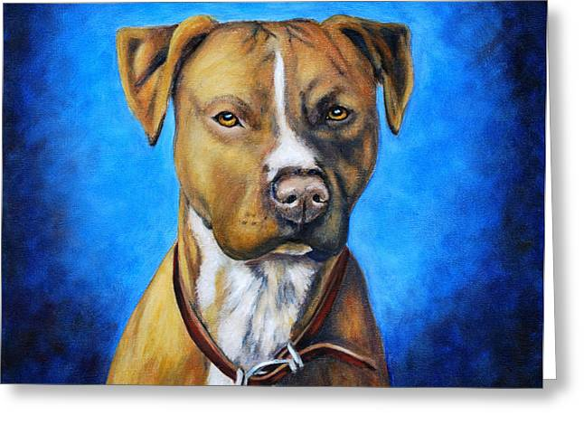 Dog Art Greeting Cards - American Staffordshire Terrier Dog Painting Greeting Card by Michelle Wrighton