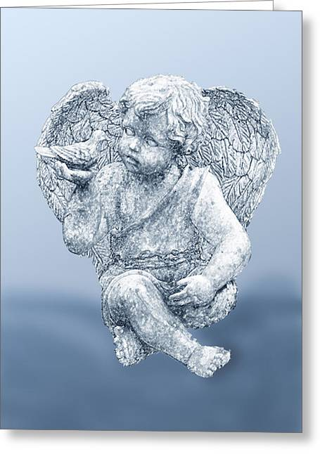 Innocent Angels Greeting Cards - Angel in Blue Sketch Greeting Card by Linda Phelps