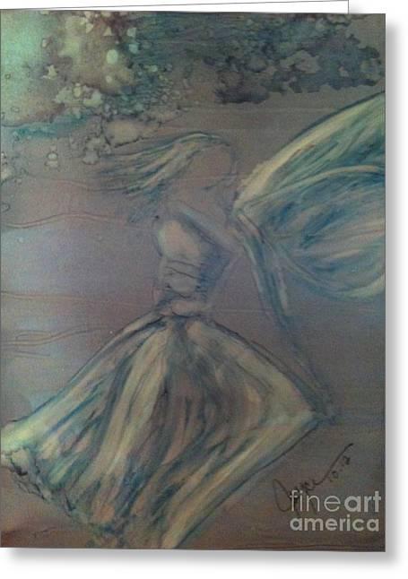 Angel Mermaids Ocean Greeting Cards - Angel in Wind Greeting Card by Joyce Auteri