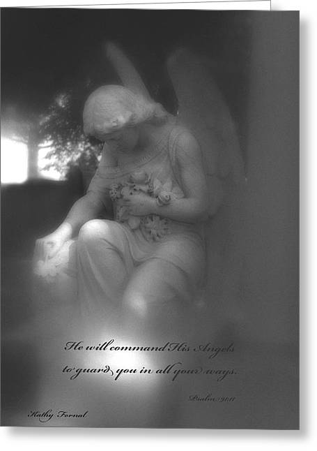 Coffin Greeting Cards - Angel Kneeling In Prayer - Inspirational Angel Art Greeting Card by Kathy Fornal