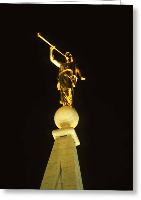 Night Angel Greeting Cards - Angel Moroni Greeting Card by Troy Montemayor