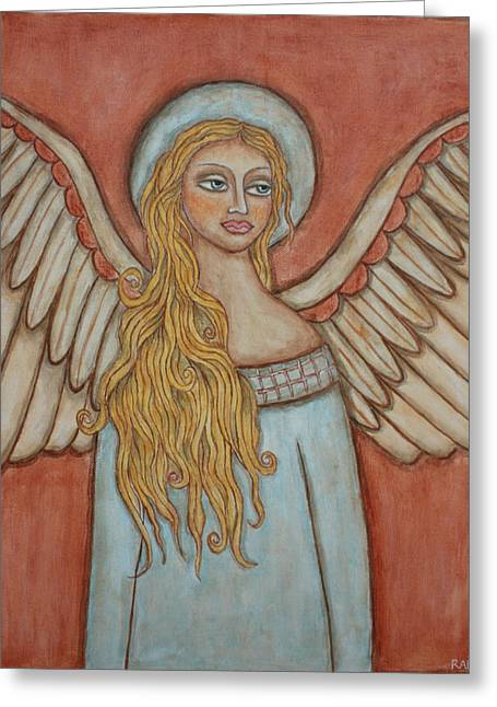 Acrylic Pastels Greeting Cards - Angel of Liberation Greeting Card by Rain Ririn