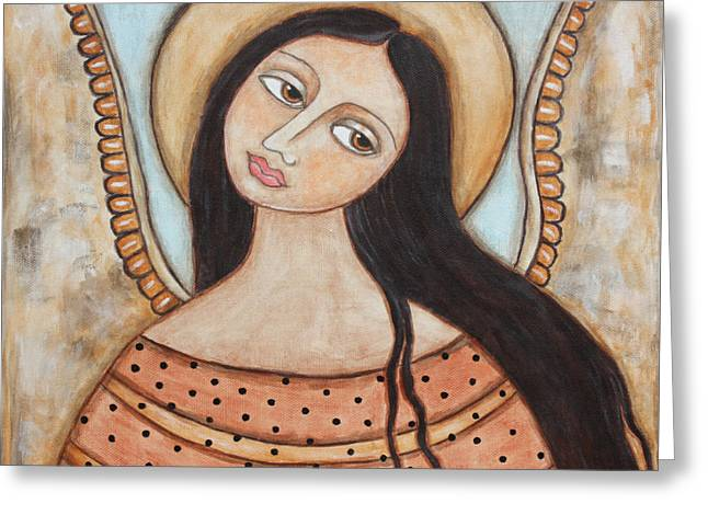 Acrylic Pastels Greeting Cards - Angel of Silence Greeting Card by Rain Ririn