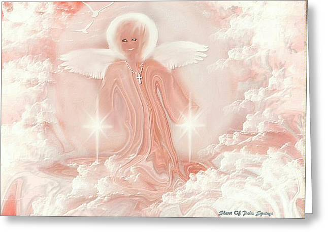 Smiling Jesus Digital Greeting Cards - Angel Of Smiles Greeting Card by Sherri  Of Palm Springs