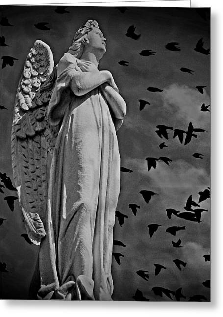 Light And Dark Mixed Media Greeting Cards - Angel of Stone BW Greeting Card by David Dehner