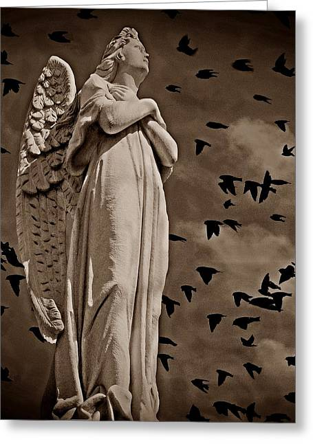 Grey Clouds Mixed Media Greeting Cards - Angel of Stone S Greeting Card by David Dehner