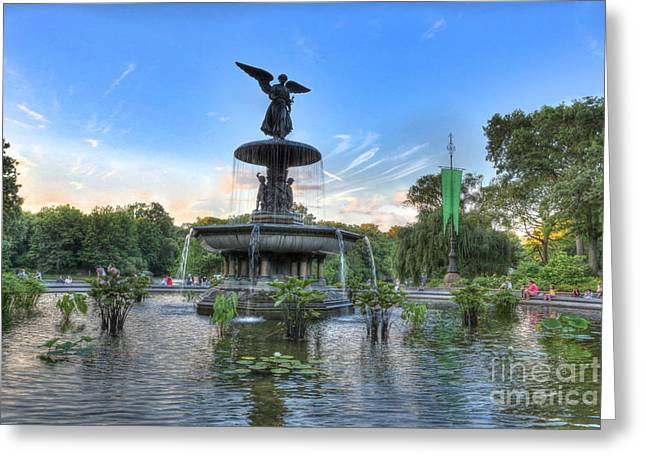 Angel Of The Waters Fountain  Bethesda II Greeting Card by Lee Dos Santos