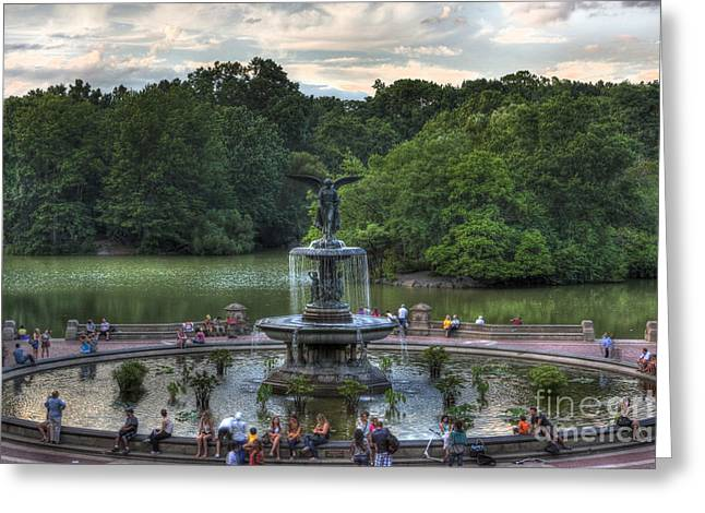 Lee Dos Santos Greeting Cards - Angel of the Waters Fountain  Bethesda Greeting Card by Lee Dos Santos