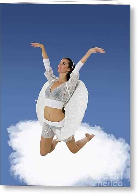 Women Only Greeting Cards - Angel on a cloud Greeting Card by Ilan Rosen