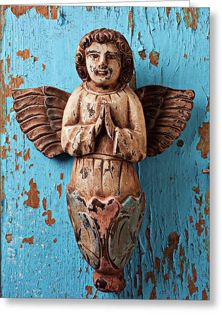 Blinds Greeting Cards - Angel on blue wooden wall Greeting Card by Garry Gay