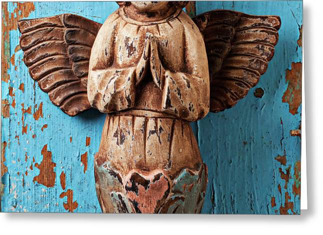 Angel on blue wooden wall Greeting Card by Garry Gay
