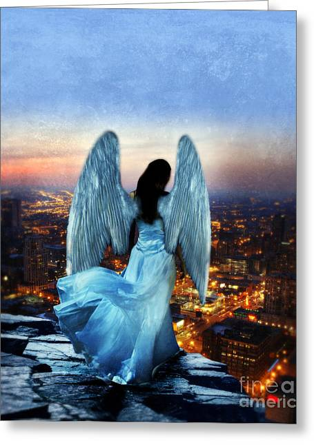 Breezy Greeting Cards - Angel on Rocky Ledge Above City at Night Greeting Card by Jill Battaglia