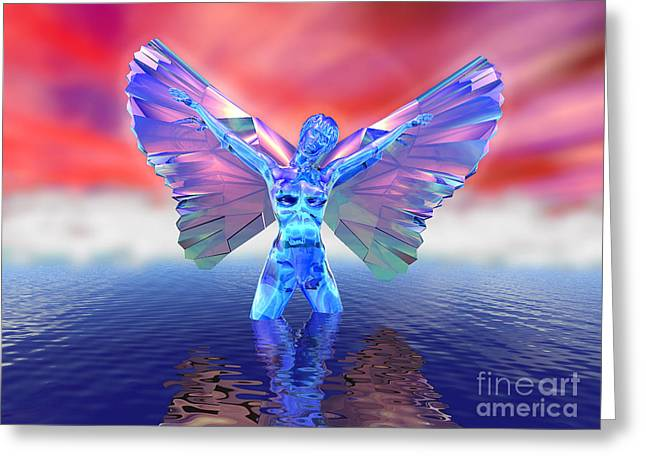 Angel On The Water Greeting Card by Ricky Schneider