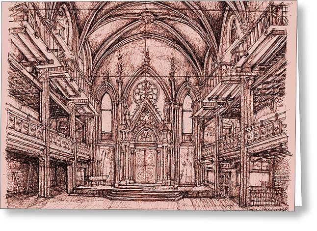 Angel Drawings Greeting Cards - Angel Orensanz centre in pink  Greeting Card by Building  Art