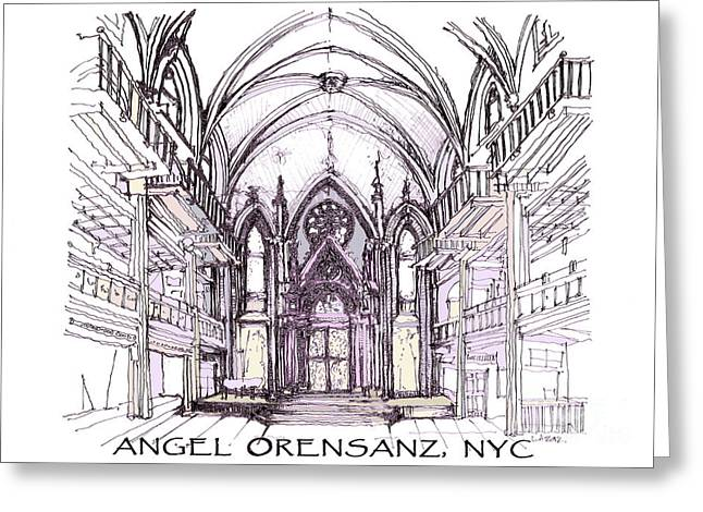 Synagogues Greeting Cards - Angel Orensanz ink  Greeting Card by Building  Art