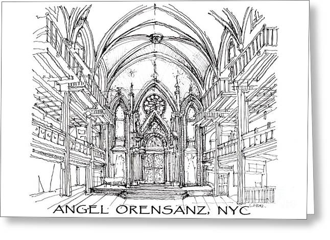 Angel Drawings Greeting Cards - Angel Orensanz sketch with title Greeting Card by Building  Art