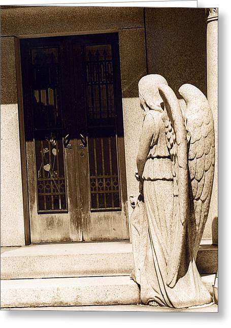 Angel Art Greeting Cards - Angel Outside Cemetery Mausoleum Door Greeting Card by Kathy Fornal