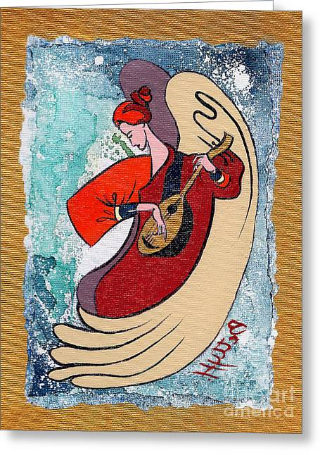 Forgiveness Greeting Cards - Angel playing for us No2 Greeting Card by Elisabeta Hermann