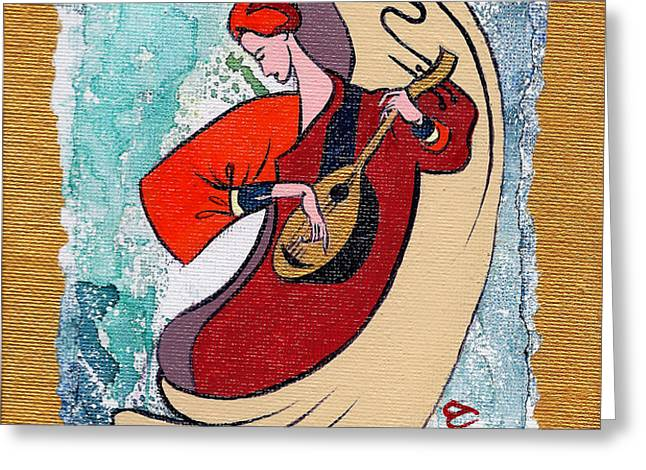 Angel playing for us No2 Greeting Card by Elisabeta Hermann