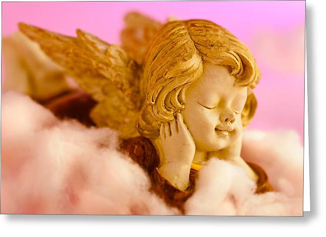 Angel Resting On Clouds And Enjoying The Sun Greeting Card by Ulrich Schade