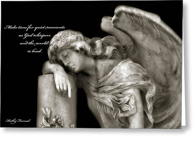 Coffin Greeting Cards - Angel Resting On Post Inspirational Angel Art Greeting Card by Kathy Fornal