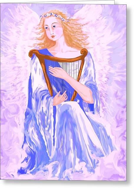 Purple Robe Digital Art Greeting Cards - Angel Greeting Card by Sheri Strang