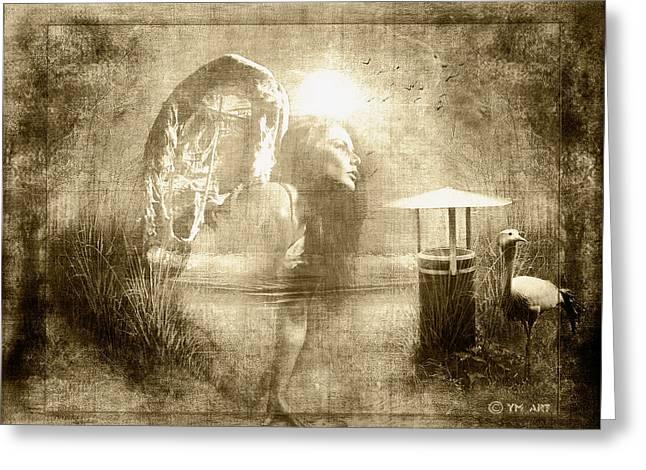 Angel Spirit Sepia Greeting Card by Yvon van der Wijk