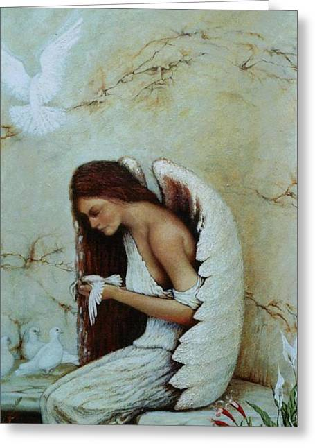 Steven Wood Greeting Cards - Angel Greeting Card by Steven Wood