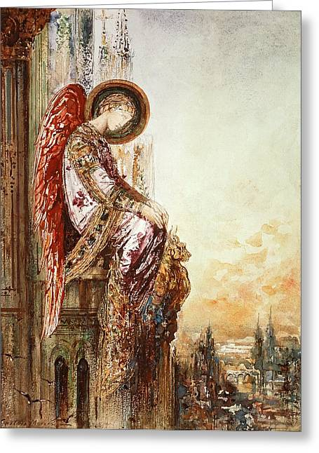 Surveying Greeting Cards - Angel Traveller Greeting Card by Gustave Moreau