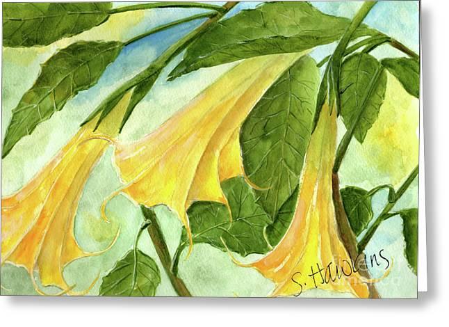 Mermaidspalette Greeting Cards - Angel Trumpets Greeting Card by Sheryl Heatherly Hawkins