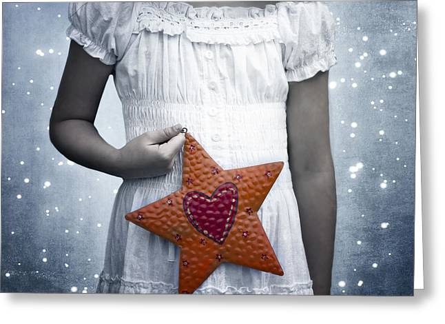 Girl In Dress Greeting Cards - Angel With A Star Greeting Card by Joana Kruse