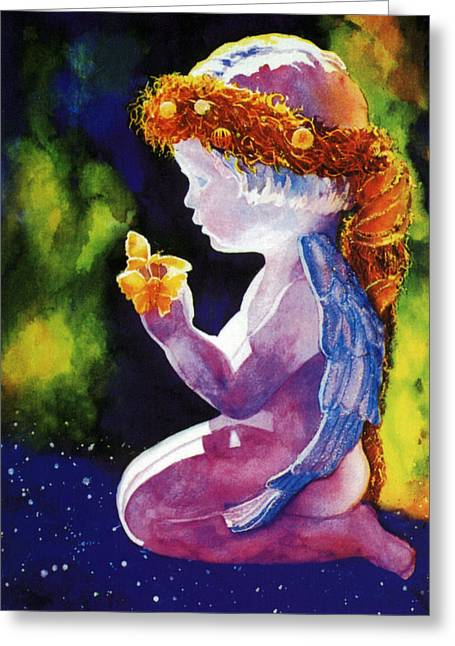Reproducciones Tropicales Greeting Cards - Angel with Butterflies Greeting Card by Estela Robles