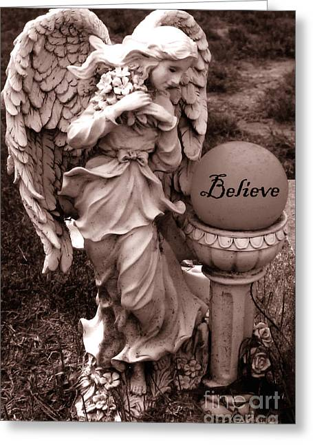 Ethereal Angel Art Greeting Cards - Angel With Inspirational Words Believe Greeting Card by Kathy Fornal