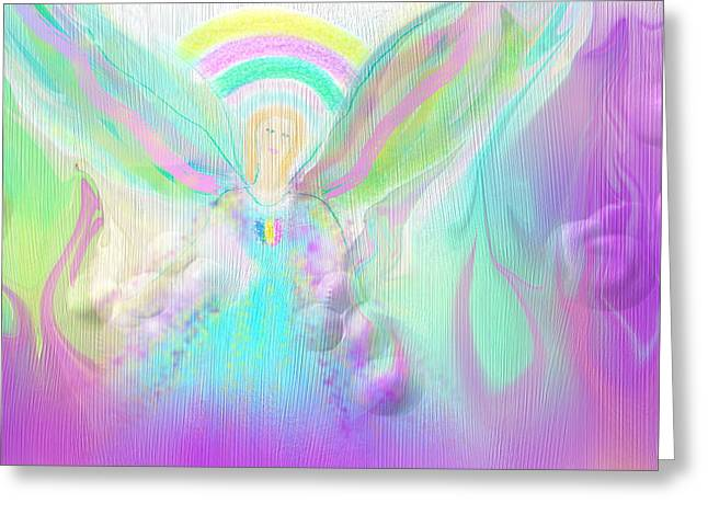 Angelical Greeting Cards - Angel Working Greeting Card by Rosana Ortiz