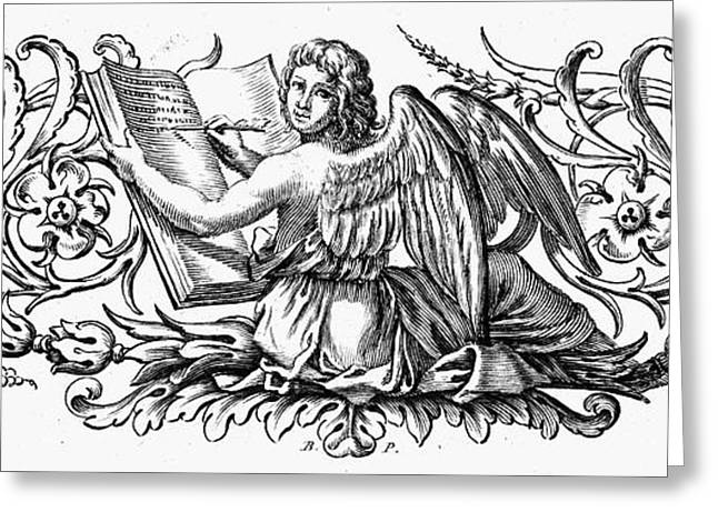 18th Century Greeting Cards - Angel Writing Greeting Card by Granger