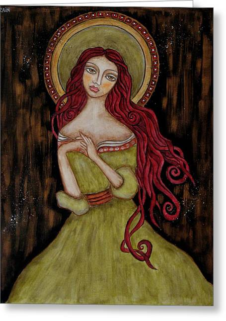 Religious Art Paintings Greeting Cards - Angela Greeting Card by Rain Ririn