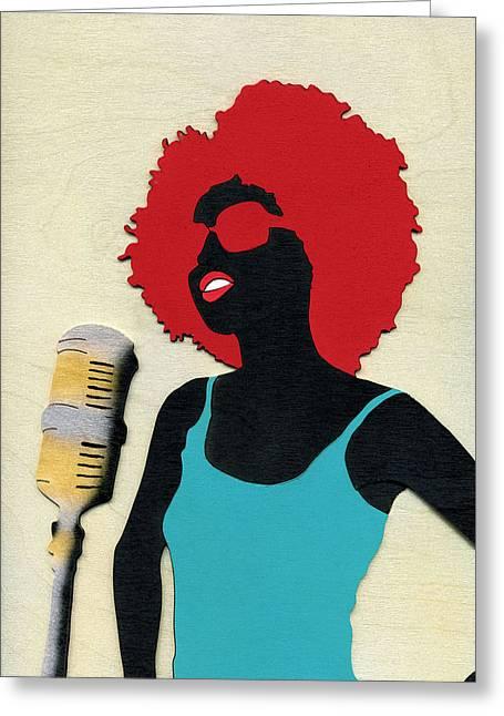 Diaspora Mixed Media Greeting Cards - Angela Sings Greeting Card by Fred Gardner