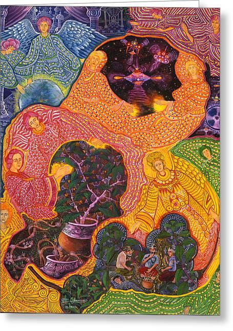 Pablo Amaringo Greeting Cards - Angeles Avatares Greeting Card by Pablo Amaringo