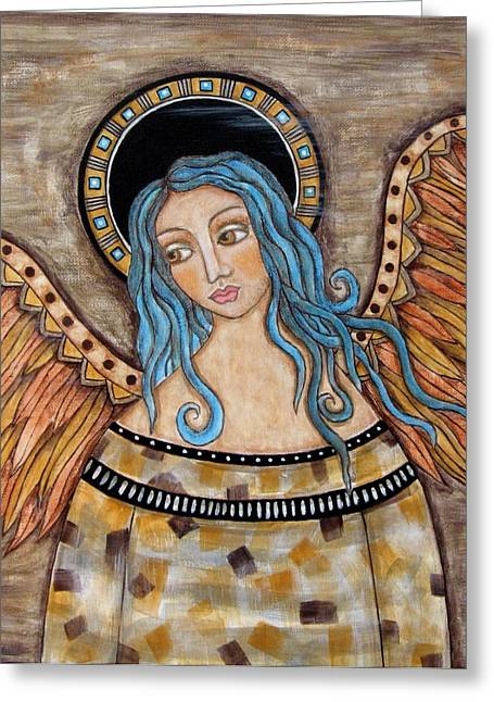 Acrylic Pastels Greeting Cards - Angelica Greeting Card by Rain Ririn