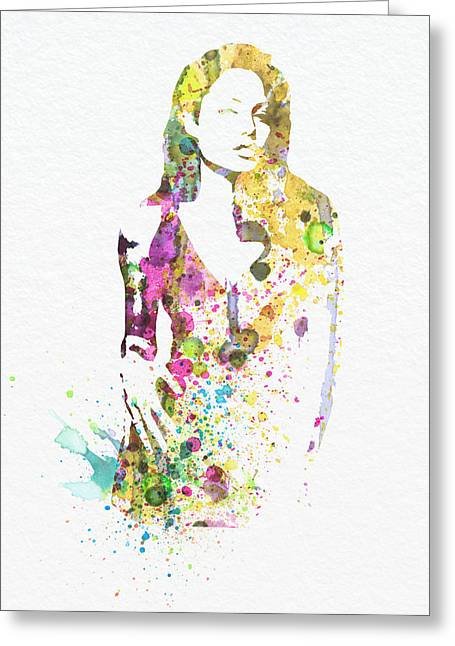Tomb Greeting Cards - Angelina Jolie 2 Greeting Card by Naxart Studio