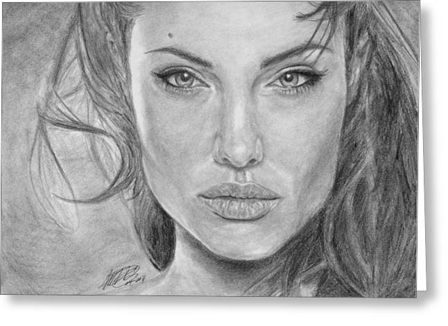 Headshot Drawings Greeting Cards - Angelina Jolie Greeting Card by Angelica Medrano