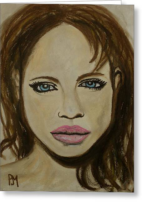 Movie Star Pastels Greeting Cards - Angelina Jolie Greeting Card by Pete Maier