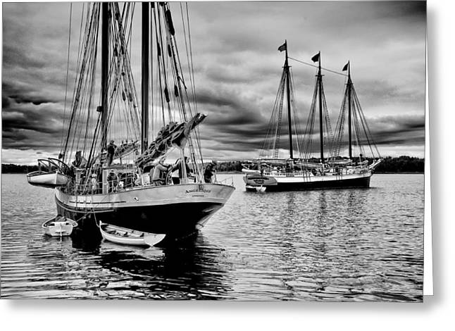 Schooner Greeting Cards - Angelique and Victory chimes Greeting Card by Fred LeBlanc